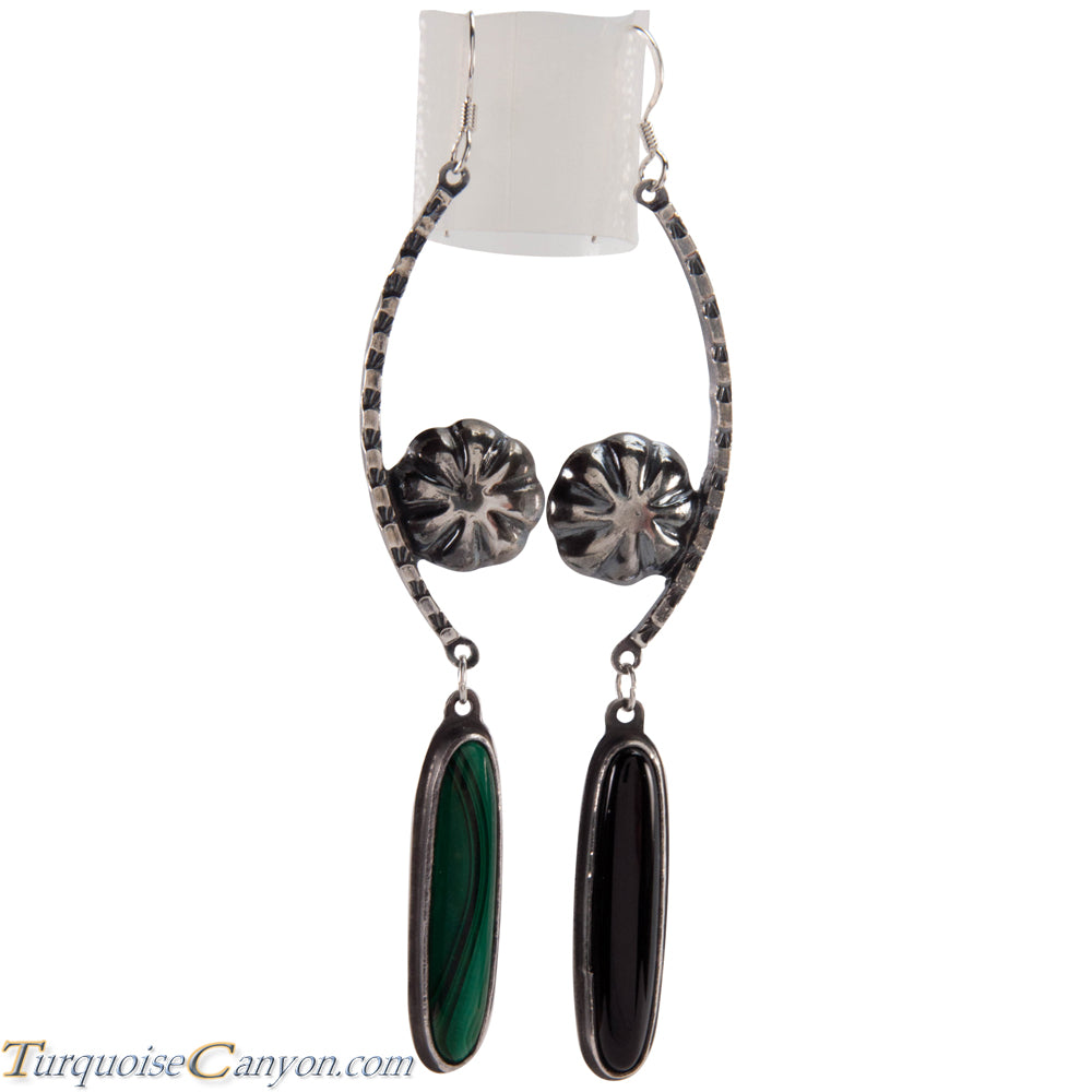 Navajo Native American Onyx and Malachite Earrings by Monty Claw SKU229081