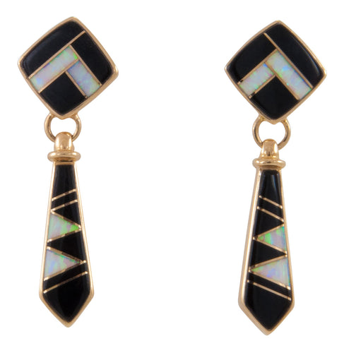 Navajo Native American Onyx and Lab Opal 14K Yellow Gold Earrings SKU229106