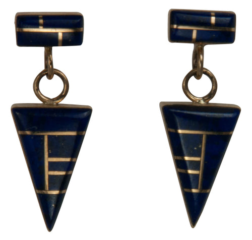Navajo Native American Lapis and 14K Yellow Gold Earrings by Ray Zia SKU229110