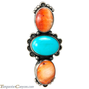 Navajo Native American Turquoise and Orange Shell Ring Size 6 3/4 SKU229155