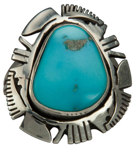 Navajo Native American Sleeping Beauty Turquoise Ring Size 7 3/4 SKU229201