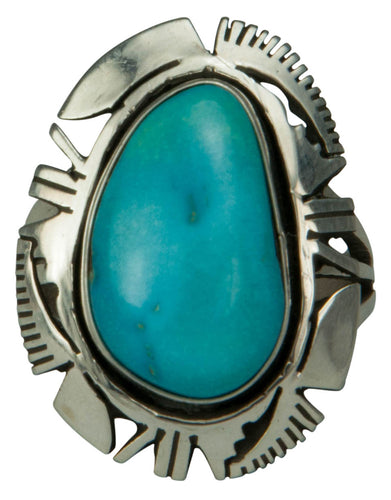 Navajo Native American Sleeping Beauty Turquoise Ring Size 7 3/4 SKU229202