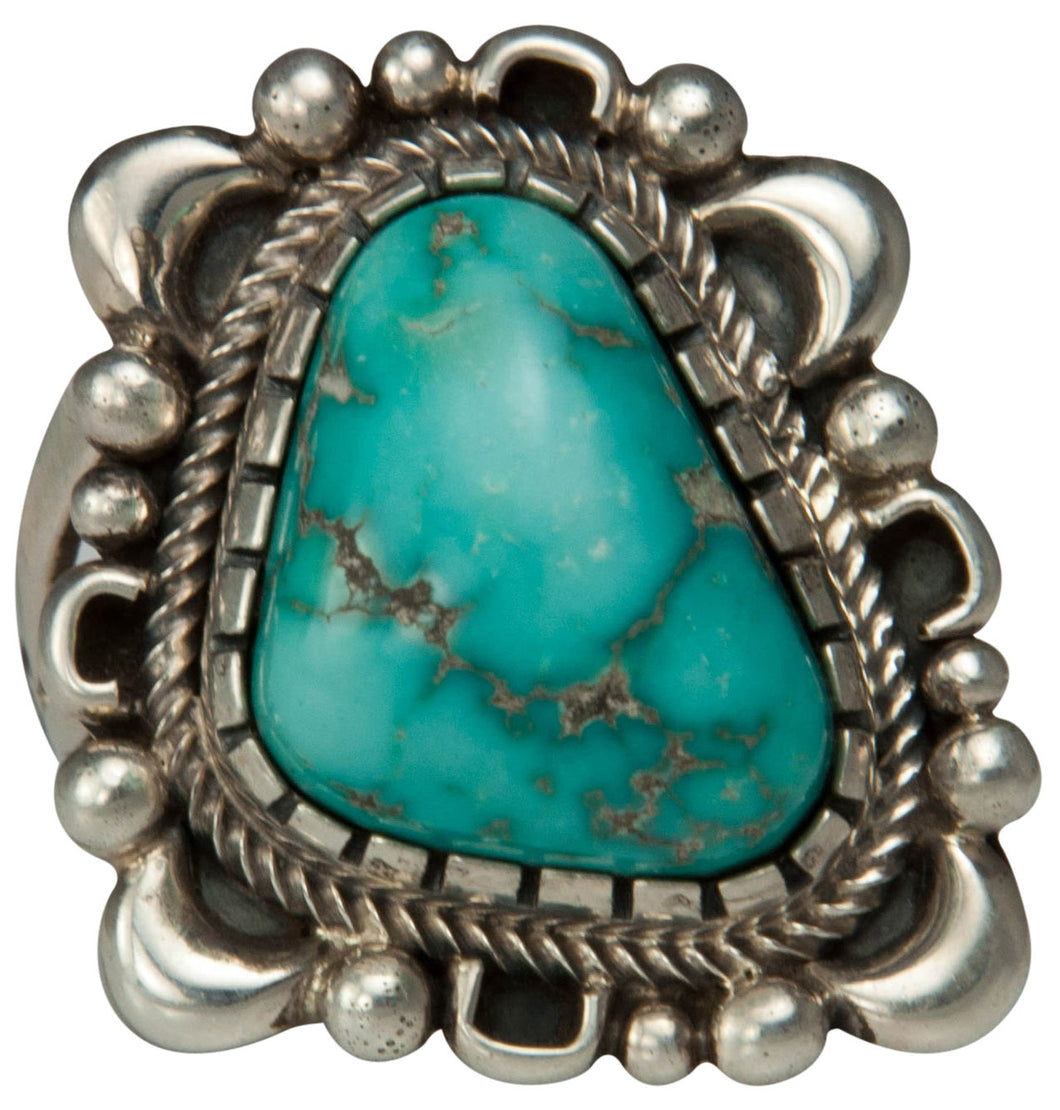 Navajo Native American Kingman Turquoise Ring Size 8 by Danny Clark SKU229204