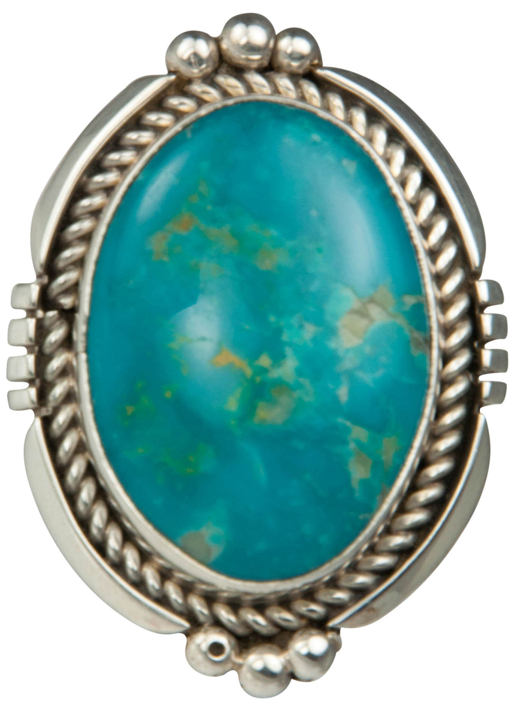 Navajo Native American Kingman Turquoise Ring Size 8 1/2 by Platero SKU229206