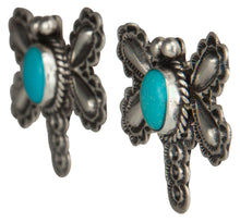 Load image into Gallery viewer, Navajo Native American Butterfly Sleeping Beauty Turquoise Earrings SKU229228