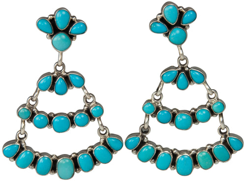 Navajo Native American Sleeping Beauty Turquoise Earrings by Largo SKU229230