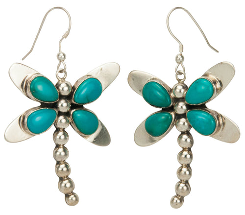 Navajo Native American Kingman Turquoise Dragonfly Earrings SKU229262
