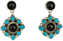 Load image into Gallery viewer, Navajo Native American Onyx and Kingman Turquosie Earrings SKU229268