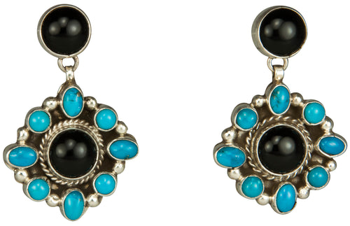 Navajo Native American Onyx and Kingman Turquosie Earrings SKU229268