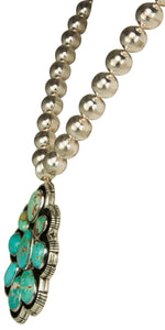 Navajo Native American Royston Mine and Silver Bead Necklace SKU229310