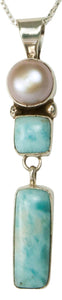 Navajo Native American Larimar and Pearl Pendant Necklace SKU229327