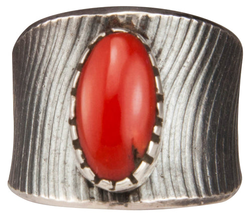 Navajo Native American Red Coral Ring Size 7 1/2 by Pete Johnson SKU229353
