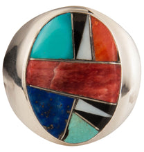 Load image into Gallery viewer, Navajo Native American Turquoise and Lapis Ring Size 10 3/4 SKU229363