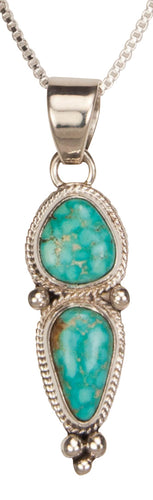Navajo Native American Kingman Turquoise Pendant Necklace SKU229371