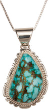 Load image into Gallery viewer, Navajo Native American Kingman Turquoise Pendant Necklace by Charley SKU229376