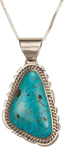 Navajo Native American Kingman Turquoise Pendant Necklace by Charley SKU229378