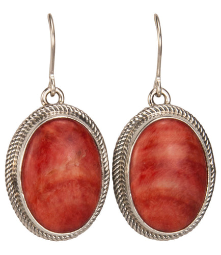 Navajo Native American Orange Spiny Oyster Shell Earrings by Piaso SKU229410