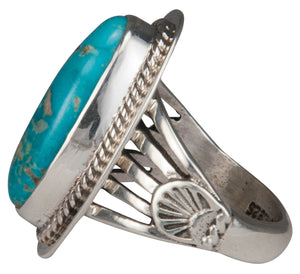 Navajo Native American Battle Mountain Turquoise Ring Size 7 SKU229455