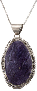 Navajo Native American Charoite Pendant Necklace by John Nelson SKU229472