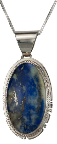 Navajo Native American Denim Lapis Pendant Necklace by Larson Lee SKU229486