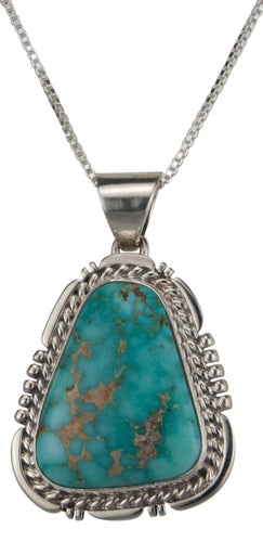 Navajo Native American Kingman Turquoise Pendant Necklace by Charley SKU229507