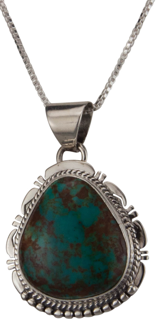 Navajo Native American Kings Manassa Turquoise Pendant Necklace SKU229509