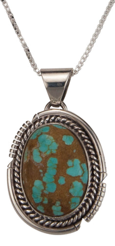 Navajo Native American Mine Number Eight Turquoise Pendant Necklace SKU229518