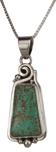 Navajo Native American Mine Number Eight Turquoise Pendant Necklace SKU229522