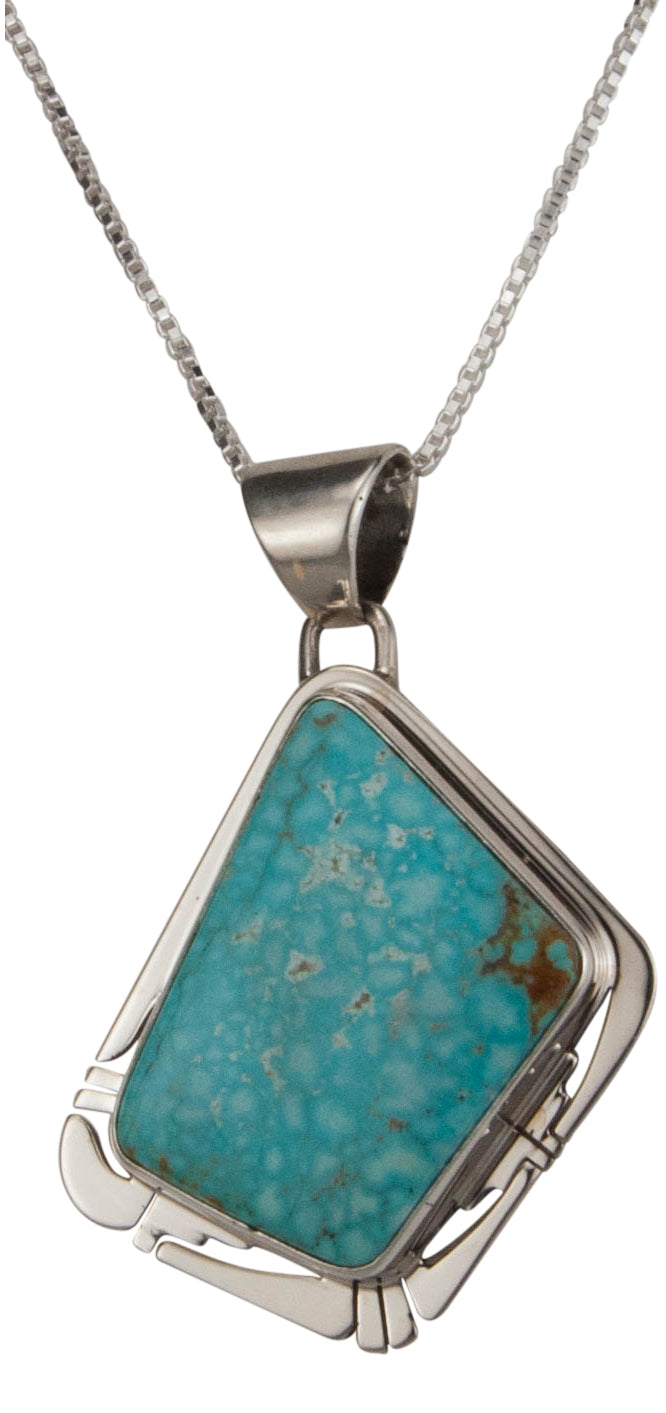 Navajo Native American Mine Number Eight Turquoise Pendant Necklace SKU229527