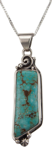 Navajo Native American Mine Number Eight Turquoise Pendant Necklace SKU229530