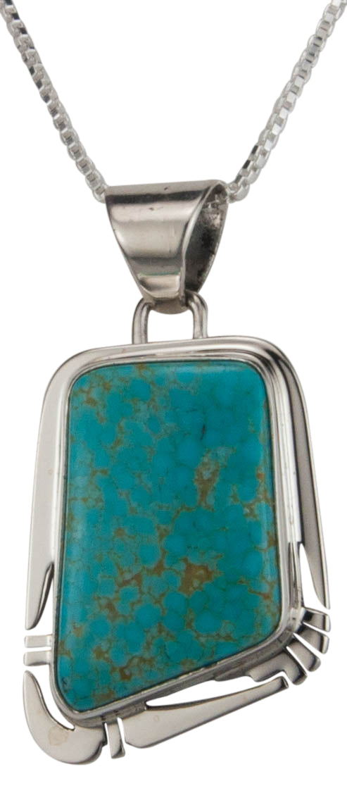 Navajo Native American Mine Number Eight Turquoise Pendant Necklace SKU229533