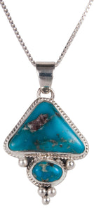 Navajo Native American Candelaria Turquoise Pendant Necklace SKU229540