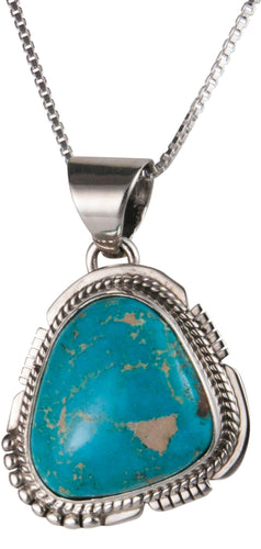Navajo Native American Royston Turquoise Pendant Necklace by Jake SKU229542