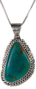 Navajo Native American Royston Turquoise Pendant Necklace by Charley SKU229544