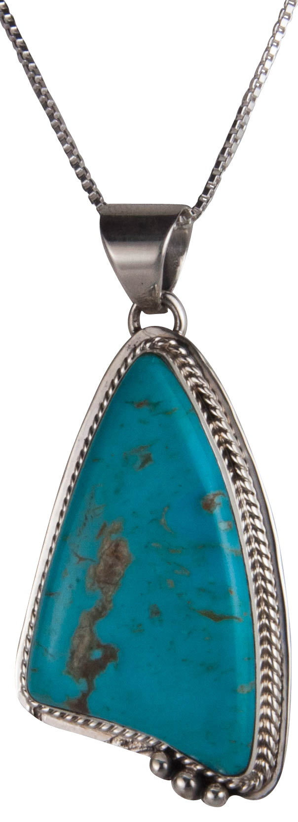Navajo Native American Turquoise Mountain Mine Pendant Necklace SKU229554