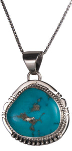 Navajo Native American Castle Dome Turquoise Pendant Necklace SKU229556