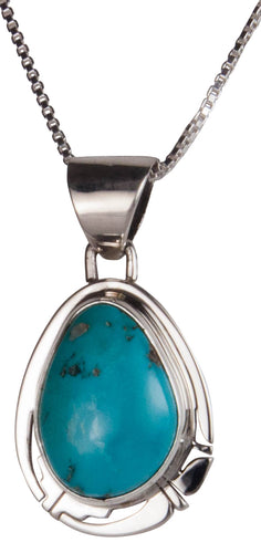 Navajo Native American Castle Dome Turquoise Pendant Necklace SKU229558