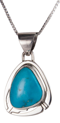 Navajo Native American Castle Dome Turquoise Pendant Necklace SKU229559
