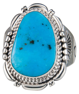 Navajo Native American Candelaria Turquoise Ring Size 10 by Ration SKU229560