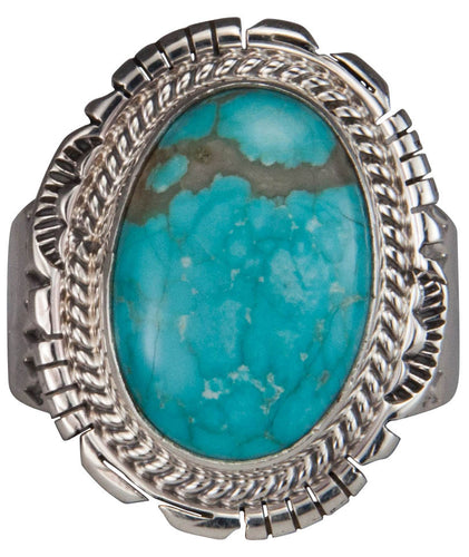 Navajo Native American Mine Number Eight Turquoise Ring Size 10 1/4 SKU229572