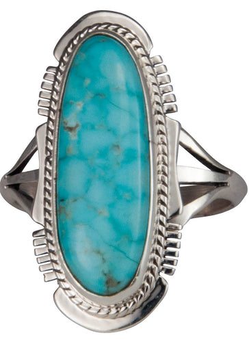 Navajo Native American Mine Number Eight Turquoise Ring Size 9 1/4 SKU229580
