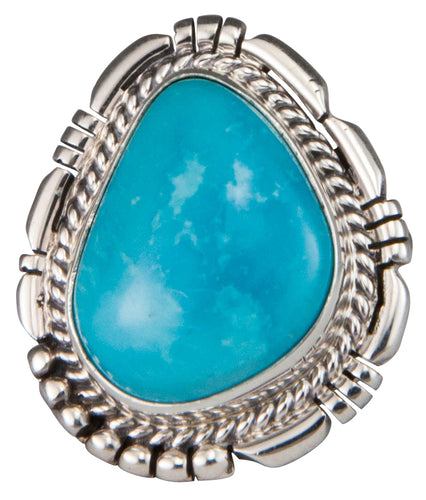 Navajo Native American Castle Dome Turquoise Ring Size 7 by Charley SKU229587