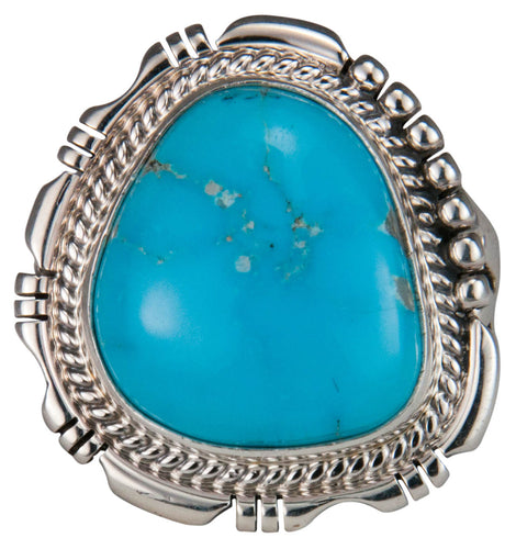 Navajo Native American Castle Dome Turquoise Ring Size 9 1/2 by Jake SKU229590