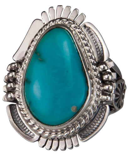 Navajo Native American Castle Dome Turquoise Ring Size 7 by Ration SKU229591