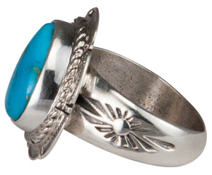 Navajo Native American Castle Dome Turquoise Ring Size 8 by Ration SKU229593