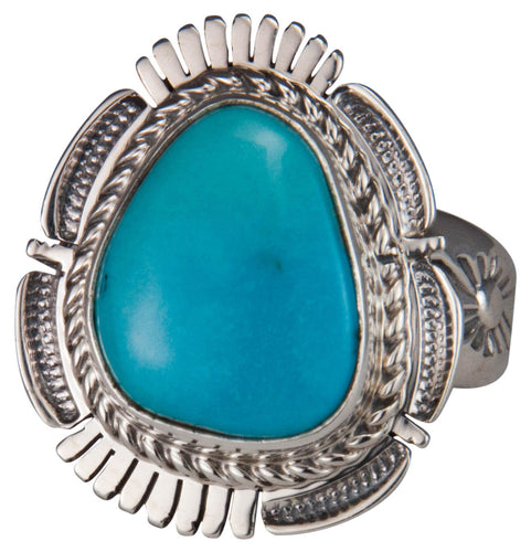 Navajo Native American Castle Dome Turquoise Ring Size 7 3/4 SKU229595