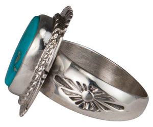 Navajo Native American Castle Dome Turquoise Ring Size 9 by Ration SKU229596