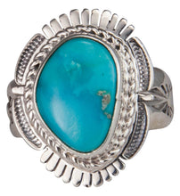 Load image into Gallery viewer, Navajo Native American Castle Dome Turquoise Ring Size 9 by Ration SKU229596