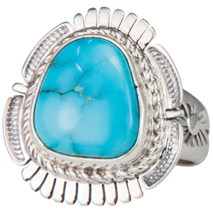 Navajo Native American Castle Dome Turquoise Ring Size 7 by Ration SKU229597