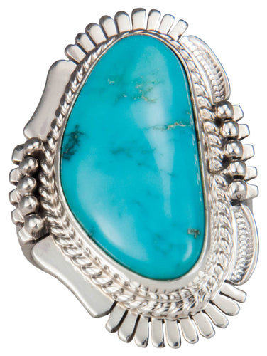 Navajo Native American Castle Dome Turquoise Ring Size 8 by Ration SKU229598